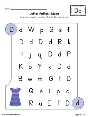 Letter D Pattern Maze Worksheet (Color)