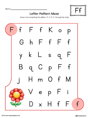 Letter F Pattern Maze Worksheet (Color)
