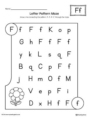 letter f pattern maze worksheet. Black Bedroom Furniture Sets. Home Design Ideas