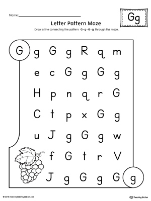Letter G Pattern Maze Worksheet