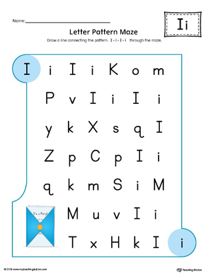 Letter I Pattern Maze Worksheet (Color)