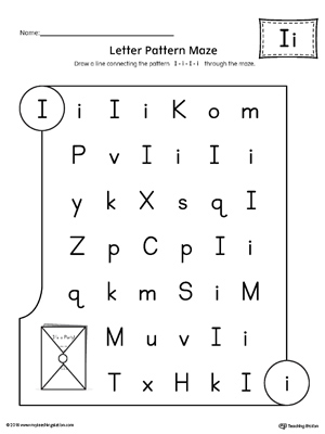 Letter I Pattern Maze Worksheet