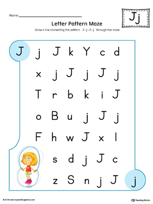 Letter J Pattern Maze Worksheet (Color)