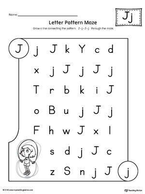 Letter J Pattern Maze Worksheet | MyTeachingStation.com