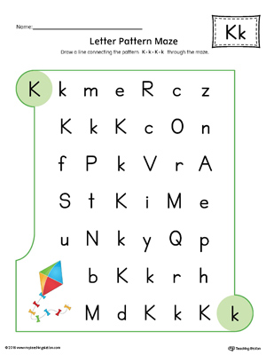 Letter K Pattern Maze Worksheet (Color)