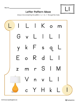 Letter L Pattern Maze Worksheet (Color)