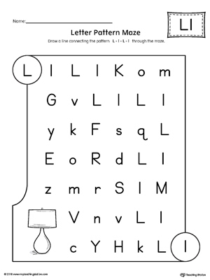 letter l pattern maze worksheet. Black Bedroom Furniture Sets. Home Design Ideas