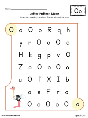 Letter O Pattern Maze Worksheet (Color)