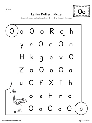 Letter O Pattern Maze Worksheet