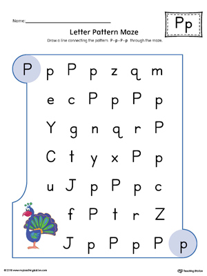 Letter P Pattern Maze Worksheet (Color)