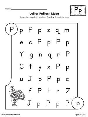 Letter P Pattern Maze Worksheet | MyTeachingStation.com