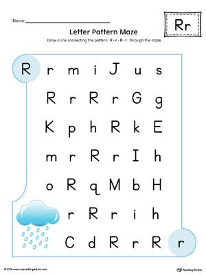Letter R Pattern Maze Worksheet (Color)
