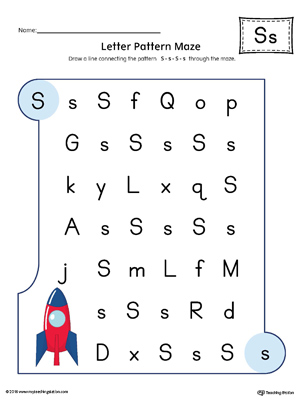 Alphabet letter hunt letter s worksheet color myteachingstation letter s pattern maze worksheet color altavistaventures Images