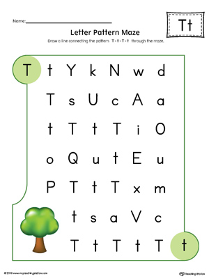 Letter T Pattern Maze Worksheet (Color)