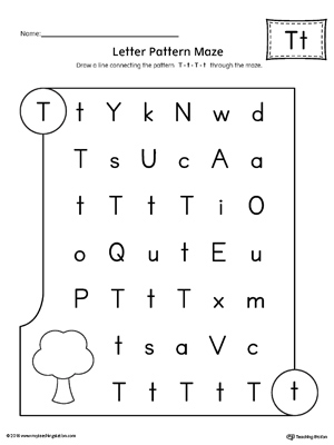 Letter T Pattern Maze Worksheet