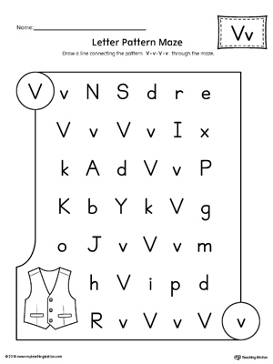 Worksheets Letter V Worksheet letter v scramble worksheet myteachingstation com pattern maze worksheet