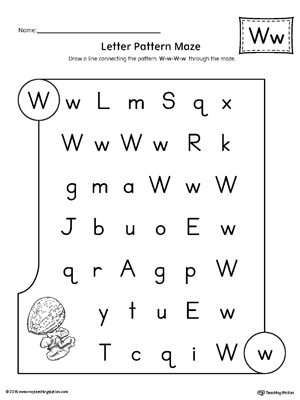 Letter W Pattern Maze Worksheet