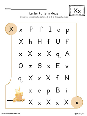 Letter X Pattern Maze Worksheet (Color)