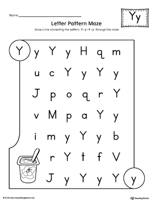 Letter Y Pattern Maze Worksheet | MyTeachingStation.com