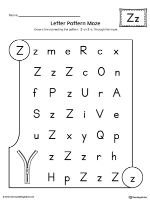 Letter Z Pattern Maze Worksheet Myteachingstation Com