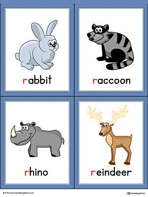 Letter R Words and Pictures Printable Cards: Rabbit, Raccoon, Rhino, Reindeer (Color)