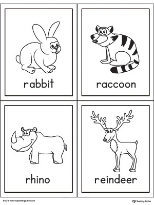 Letter R Words and Pictures Printable Cards: Rabbit, Raccoon, Rhino, Reindeer
