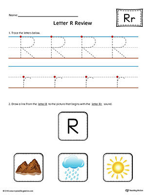 Letter R Review Worksheet (Color)