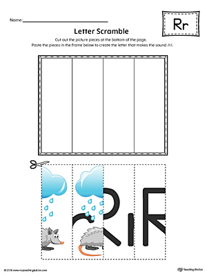 Letter R Scramble Worksheet (Color)