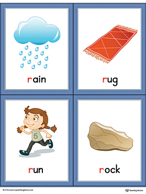 Letter R Words and Pictures Printable Cards: Rag, Rainbow, Road, Rocket (Color)