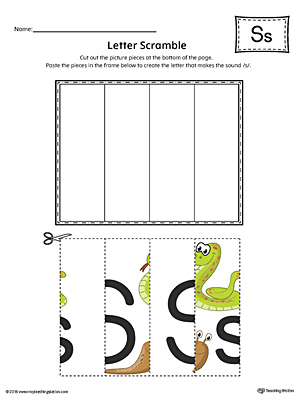 Letter S Scramble Worksheet (Color)