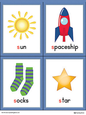 Letter S Words and Pictures Printable Cards: Sun, Spaceship, Socks, Star (Color)