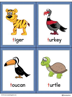 Letter T Words and Pictures Printable Cards: Tiger, Turkey, Toucan, Turtle (Color)