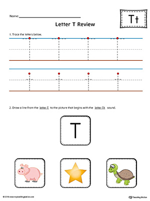 Letter T Review Worksheet (Color)
