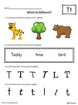 Letter T Which is Different Worksheet (Color)