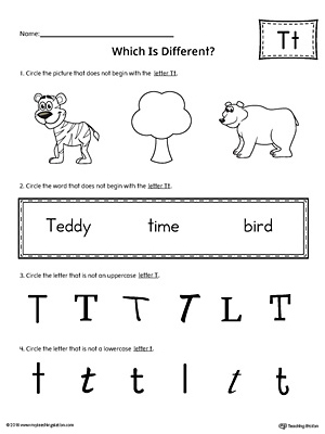 Letter T Which is Different Worksheet