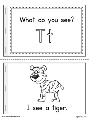 Letter T Words Printable Mini Book on preschool letter t worksheets