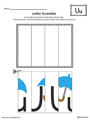 Letter U Scramble Worksheet (Color)
