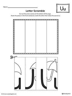 Letter U Scramble Worksheet