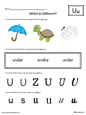 Letter U Which is Different Worksheet (Color)