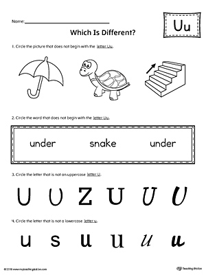 Letter U Which is Different Worksheet