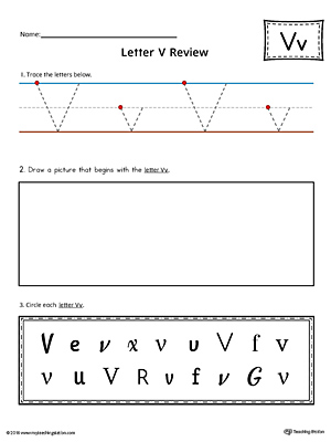 Letter V Practice Worksheet