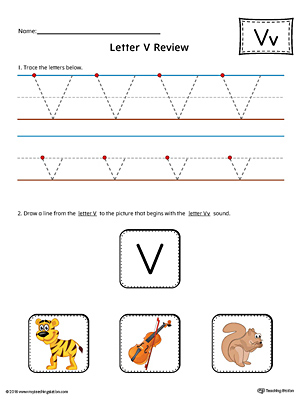 Use the Letter V Review in Color worksheet to help your student practice tracing and the beginning sound of the letter V.