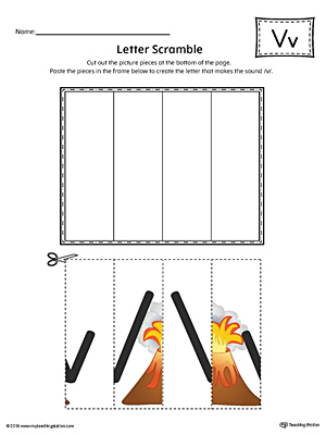 Letter V Scramble Worksheet (Color)