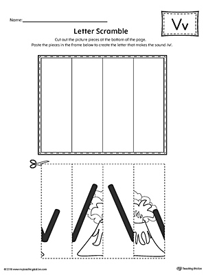 Letter V Scramble Worksheet