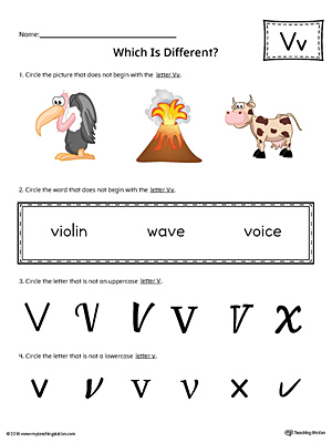 Use the Letter V Which is Different in Color to practice identifying the uppercase and lowercase letter V and it