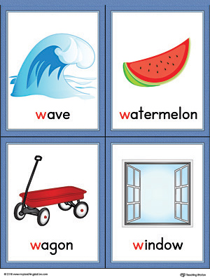Letter W Words and Pictures Printable Cards: Wave, Watermelon, Wagon, Window (Color)