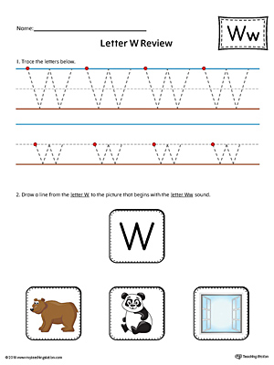 Letter W Review Worksheet (Color)