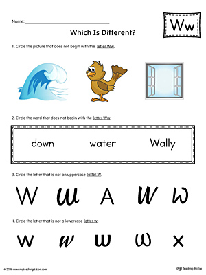 Letter W Which is Different Worksheet (Color)