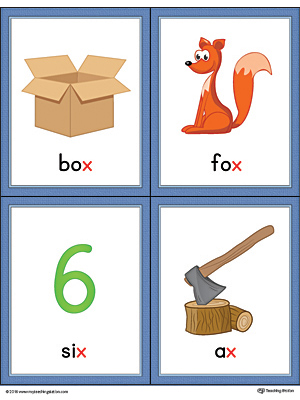 words with the letter x letter x words and pictures printable cards box fox six 25773 | Letter X Ending Sound Words Picture Cards Color