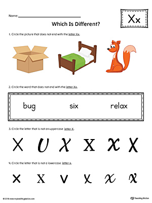 Use the Letter X Which is Different in Color to practice identifying the uppercase and lowercase letter X and it